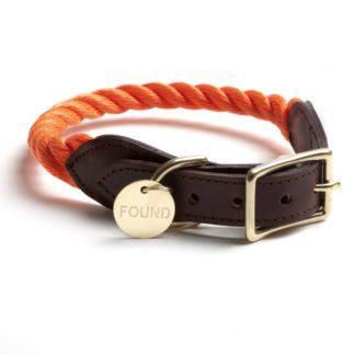"""Halsband """"Rope & Leather"""", orange-0"""