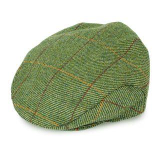 Balmoral Tweed Flat Cap, mustard overcheck