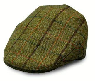 Christys' Balmoral Tweed Flat Cap, brown overcheck