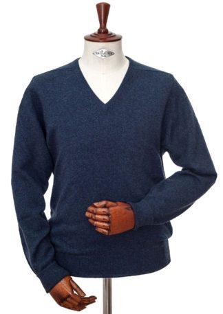 William Lockie Cashmere V-Kragen Pullover, dunkelblau meliert