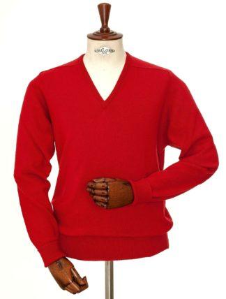 William Lockie Cashmere V-Kragen Pullover, rot