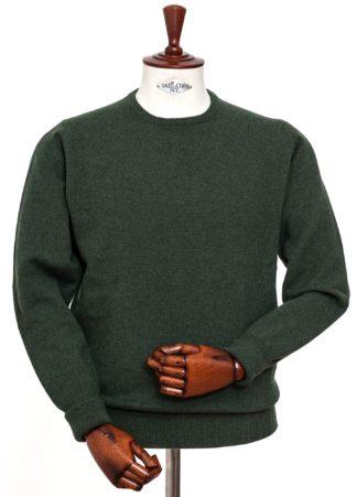 William Lockie Rundhals-Pullover, grün meliert