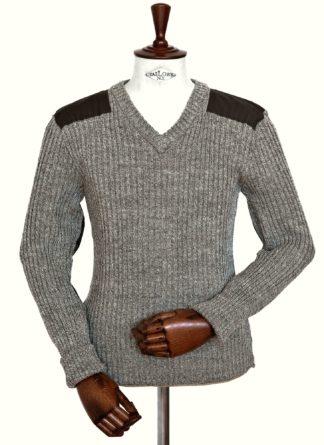 Woolly Pully V-Kragen Pullover, beige-braun meliert