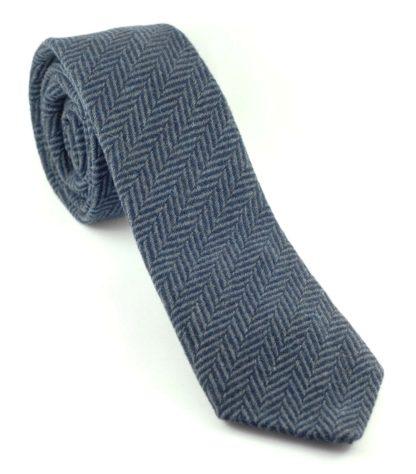 Tweedmill Tweed Krawatte Fischgrät Muster, blau-grau