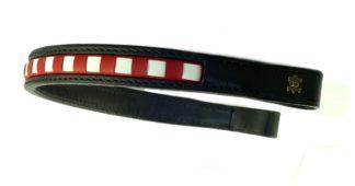 Döbert Leder-Stirnband gewürfelt, rot-weiß