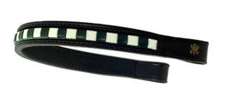 Döbert Leder-Stirnband gewürfelt, grün-weiß