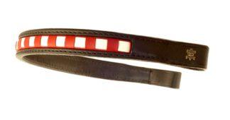 Döbert Leder-Stirnband braun, rot-weiß gewürfelt