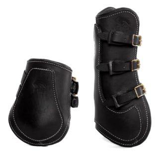 Sarm Hippique Ledergamasche und Lederstreichkappe schwarz