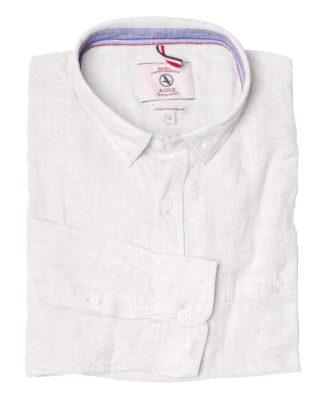 Aigle Leinenhemd Linenlong, weiß