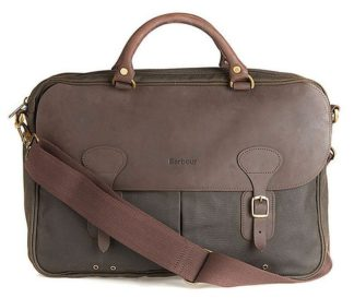 Barbour Wax Leather Briefcase, olive