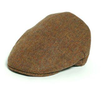 Christys' Balmoral Tweed Flat Cap, autumn herringbone