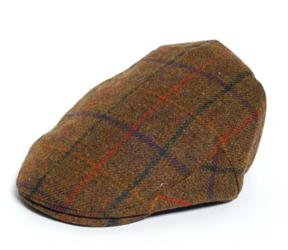 Christys' Balmoral Tweed Flat Cap, bold overcheck
