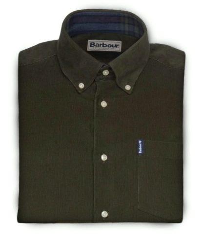 Barbour Cord Hemd, dunkelgrün