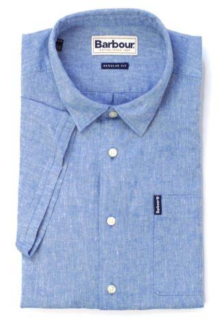 Barbour Leinenhemd Linen-Mix, blau