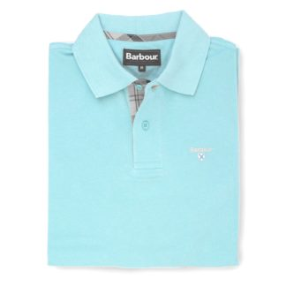 Barbour Tartan Pique Polo-Shirt, aqua marine