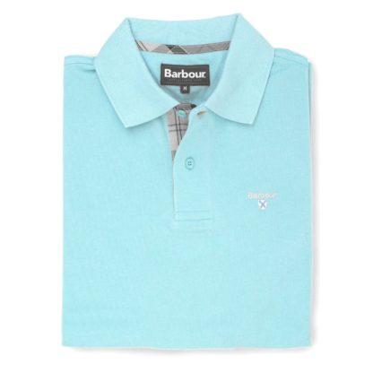 Barbour Tartan Pique Polo-Shirt, aqua marine