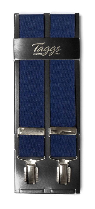 Hosenträger breit dunkelblau silber