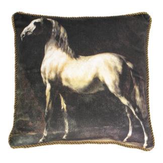 Samtkissen Cheval Arabe gris blanc Géricault 01